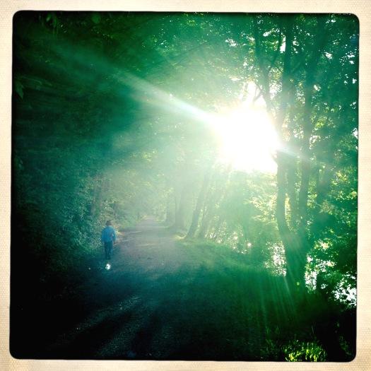 Endlich ist die Sonne da. Kleiner Mann läuft ins Licht